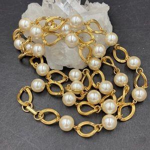 Vintage Napier Long Faux Pearl Link Necklace
